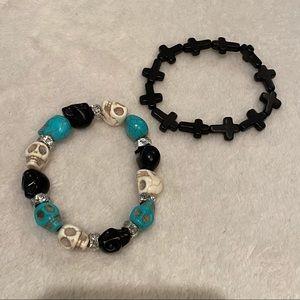 Skull + cross bracelets